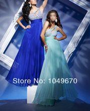 Neue Mode 2016 Blau Schulter-abschlussball-kleider Lang Mit Kristallen Chiffon Besondere Anlässe Formale Abendkleider Party F & M-580