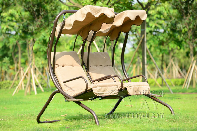 aliexpresscom buy love seats durable iron garden swing chair hammock outdoor furniture sling cover bench khaki from reliable garden swing chair suppliers - Garden Furniture Love Seat