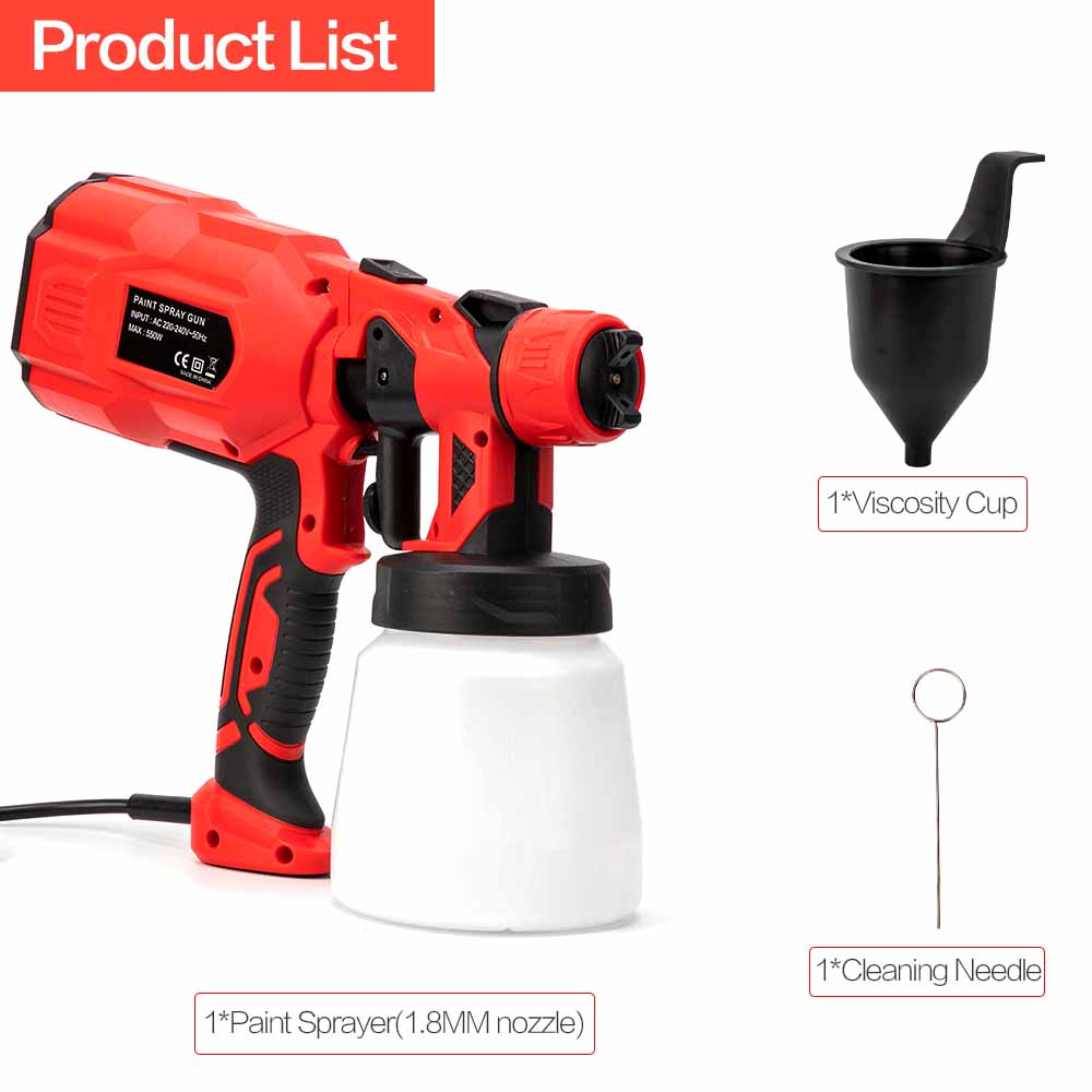 Image 5 - 1.8MM 550W Spray Gun Paint 220V 800ML High Power Spray Guns For Painting Cleaning Pesticide Electric Paint Sprayer  Spraying-in Spray Guns from Tools on