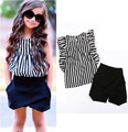 Toddler girls clothing sets kids clothes (shirt +shorts) striped baby kids suit  5sets/lot Wholesale