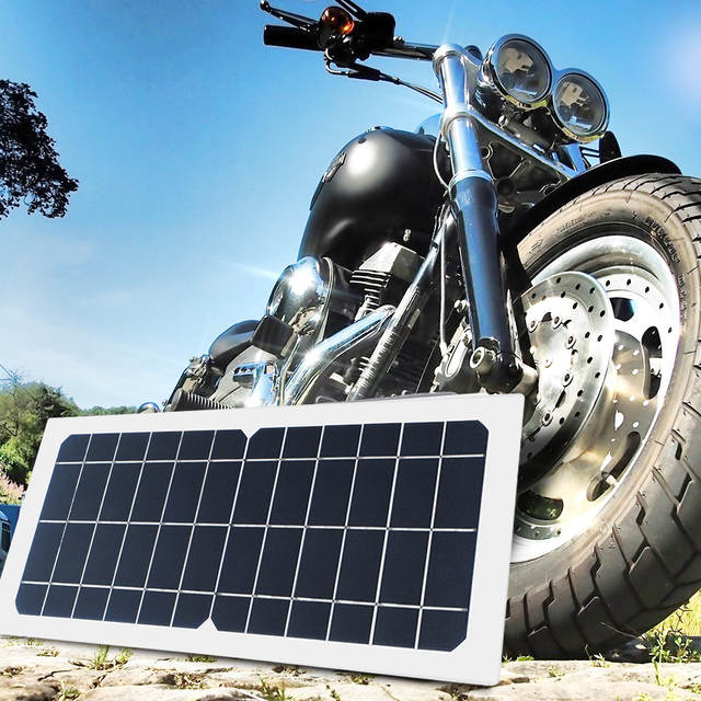 Flexible 5V 6V 10W portable solar panel Charger Car Automobile Motorcycle  Boat panels solar cell DC Alligator clips Connector