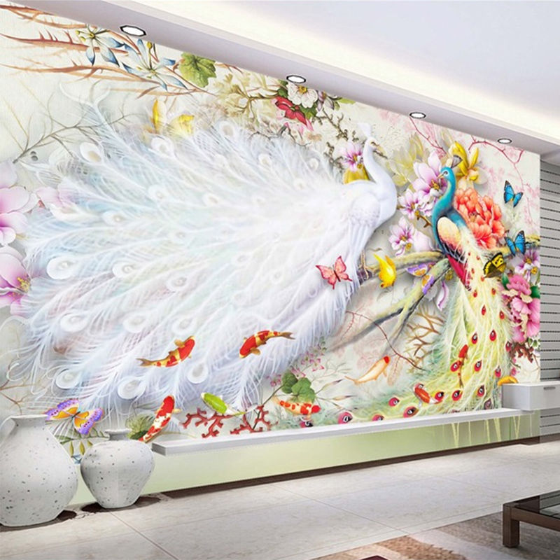 Chinese Style Watercolor Peacock Peony 3D Wall Murals Wallpaper Living Room Bedroom Backdrop Wall Home Decor Papel De Parede 3 D