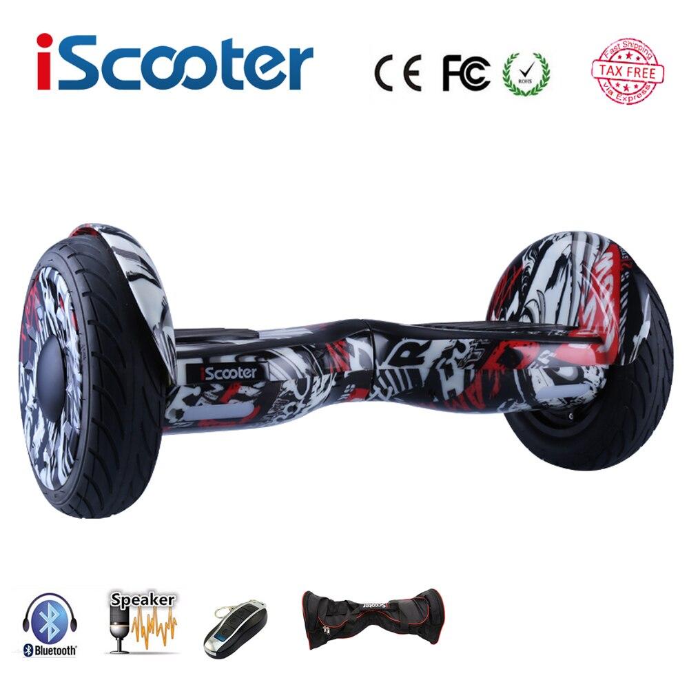 Nouveau iScooter hoverboard 10 pouce deux roues smart auto équilibrage scooter électrique planche à roulettes avec Bluetooth haut-parleurs giroskuter