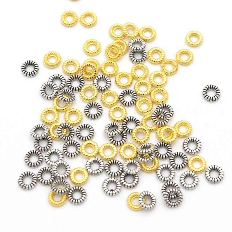 200Pcsทองโบราณเงินสีล้อวงกลมSpacerลูกปัดโลหะCharmสำหรับเครื่องประดับทำลูกปัดDiyอุปกรณ์เสริม