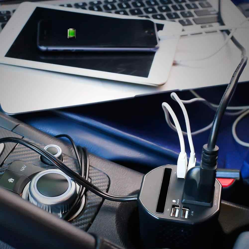 150 واط سيارة كأس عاكس الطاقة 12 فولت 220 فولت 110 فولت التيار المتناوب تيار مستمر محول 1 مخرج تيار متردد 4 منافذ USB تصفيف السيارة العاكس للهواتف اللوحي المحمول
