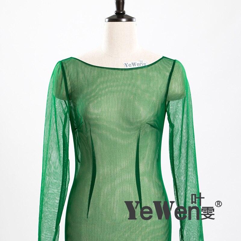 YeWen foto Real Sexy ver a través De cuello redondo, manga larga De tul verde Vestido De Novia sirena vestidos De Novia Vestido De Novia 2019 - 4
