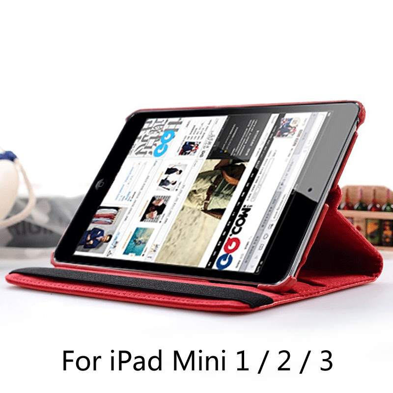 купить 360 Degree Rotating PU Leather Case Cover for apple Ipad mini1 mini2 mini3 with Retina Smart Stand Magnetic Cover + film недорого