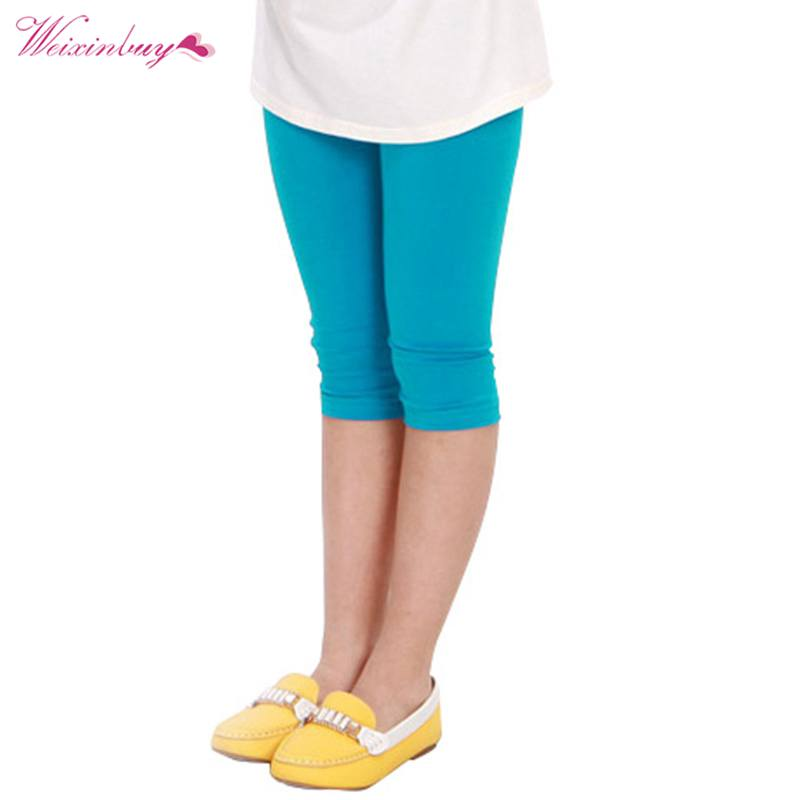 WEIXINBUY Baby Kid Girl Candy Color Cotton Stretch Skinny Leggings Casual Capris Pant 2-7Y zutano unisex baby candy stripe pant