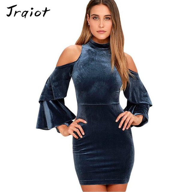 JRQIOT Bohemia 2017 Summer Women Dress Flare Sleeve Slim Pencil Sheath  Solid Mini Party Velvet Dresses a86bb08660fd