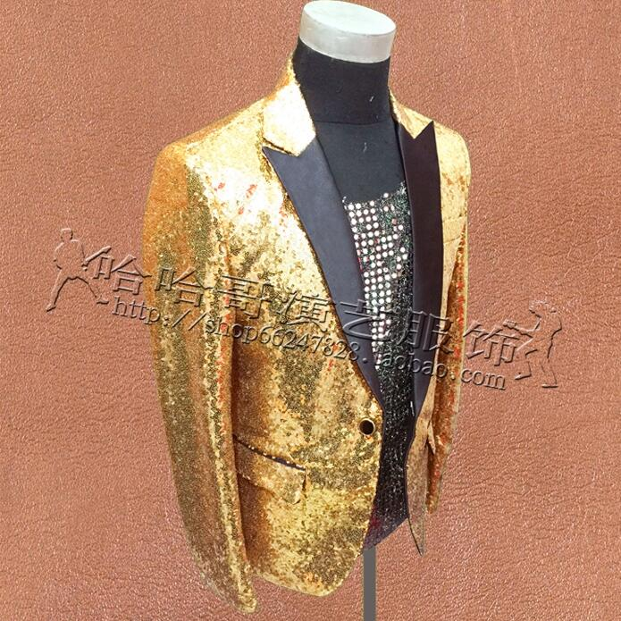 Gold sequins suits mens clothing personalized masculino homme stage costumes for singers jacket men blazer dance star style 3XL in Suit Jackets from Men 39 s Clothing
