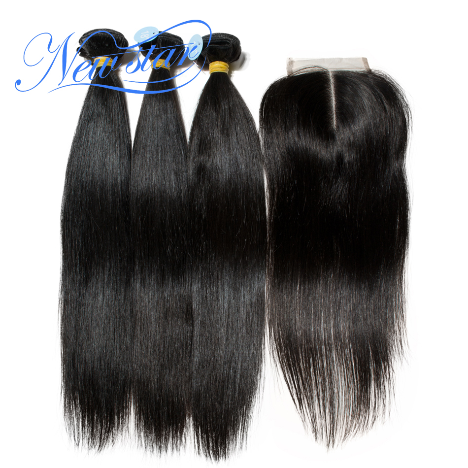 Peruvian Straight Virgin Hair 3 Bundles With A Middle Or Free Part Lace Closures New Star 100% Unprocessed Human Hair Weaving