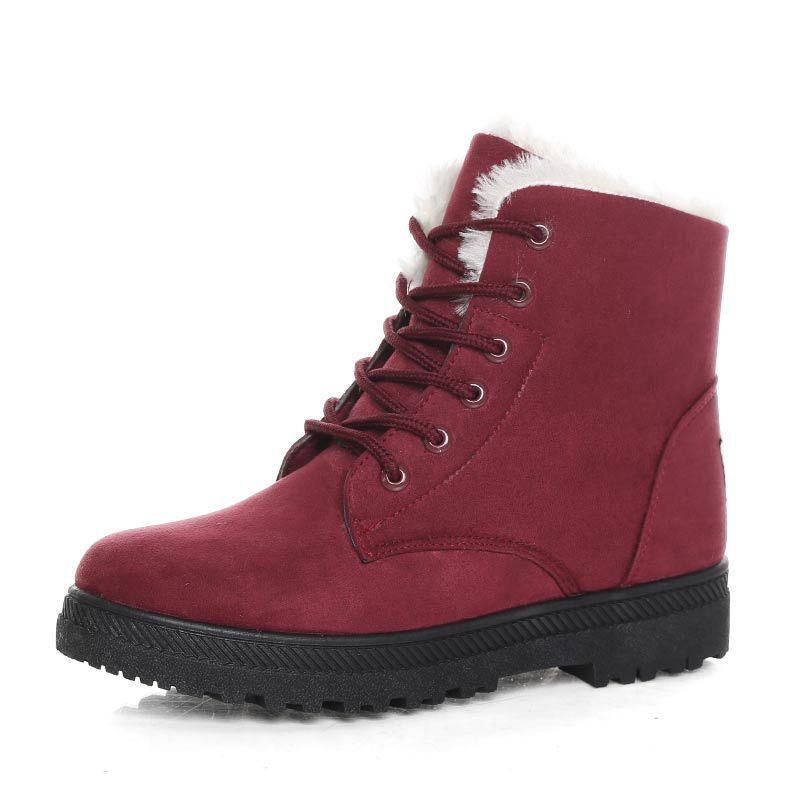 De Mujer Red Nieve Zapatos Tobillo wine Gamuza Piel Clásico blue brown Encaje gray Invierno Caliente Plantilla Black 2018 Nuevo Botas 1dwHY1
