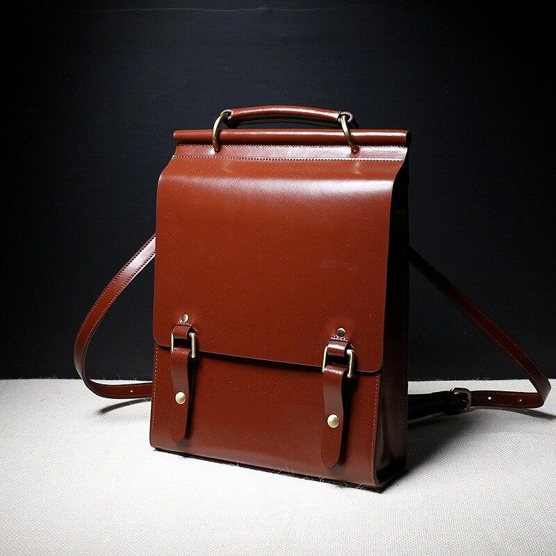Nouveau sac à dos en cuir d'automne Vintage style britannique preppy tout match sac à bandoulière en cuir décontracté femme sac à dos