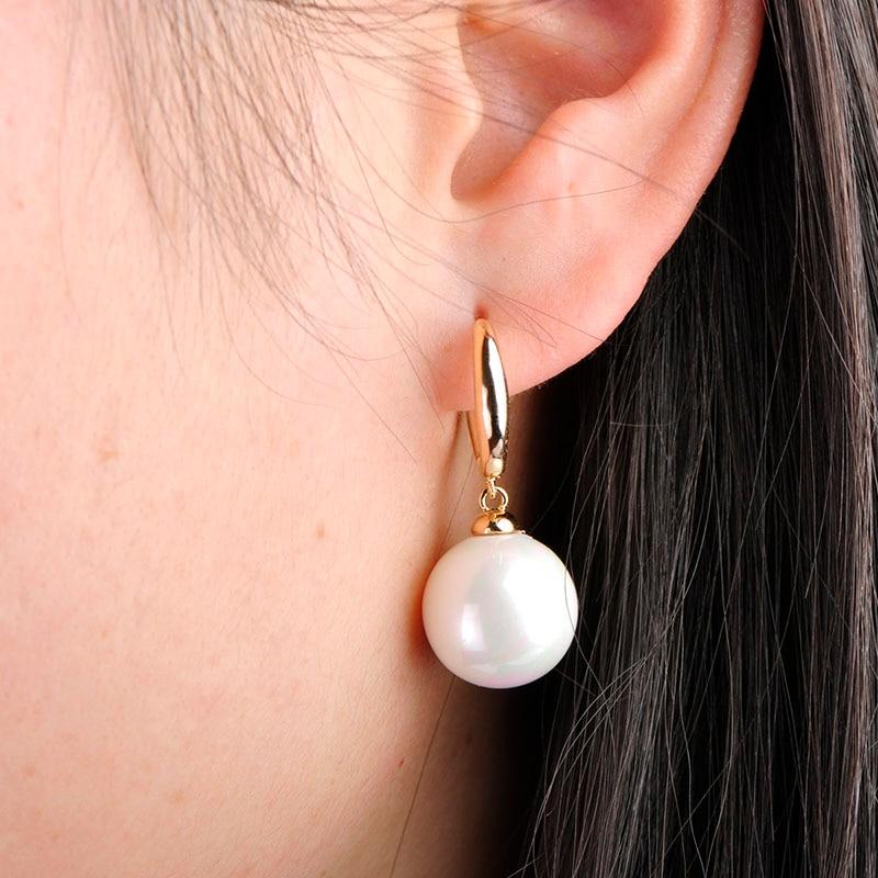 MECHOSEN Exquisite Simulierte Perlenohrring Für Frauen Gold Farbe - Modeschmuck - Foto 5