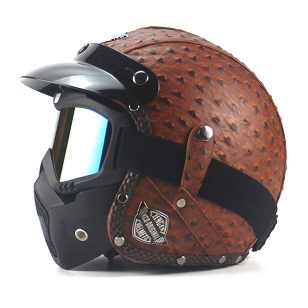все цены на New Retro Vintage Motorcycle Helmet Chopper Scooter Synthetic Leather 3/4 Open Face Four Season Moto Helmet DOT Mask Glasses онлайн