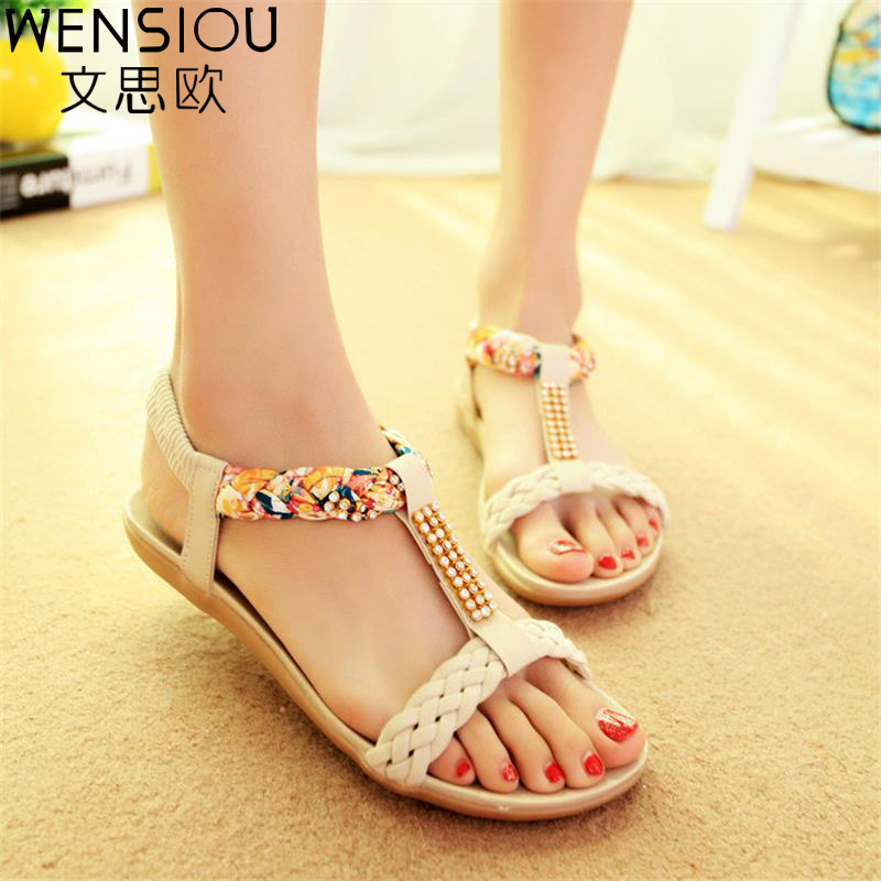 WENSIOU summer women Bohemia gladiator sandals sandals women shoes flat shoes  ladies shoes new flip flops 2017 7-BT575 new sandals women 2016 summer casual women shoes roman gladiator girls flat sandals ladies white flip flops nice sandals
