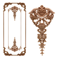 European Oak Wood Floral Carving Applique vintage Home decor Decoration Accessories Door Cabinet Furniture Figurines