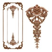 Roble europeo de madera Floral talla apliques vintage decoración accesorios, Puerta de muebles de gabinete de figuras