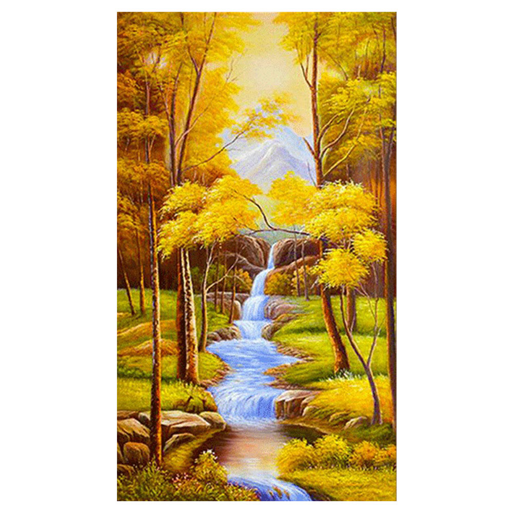 Autumn scenic Diamond Painting Full Round Forest New DIY Sticking Drill Cross Embroidery 5D Rivers Vertical section in Diamond Painting Cross Stitch from Home Garden