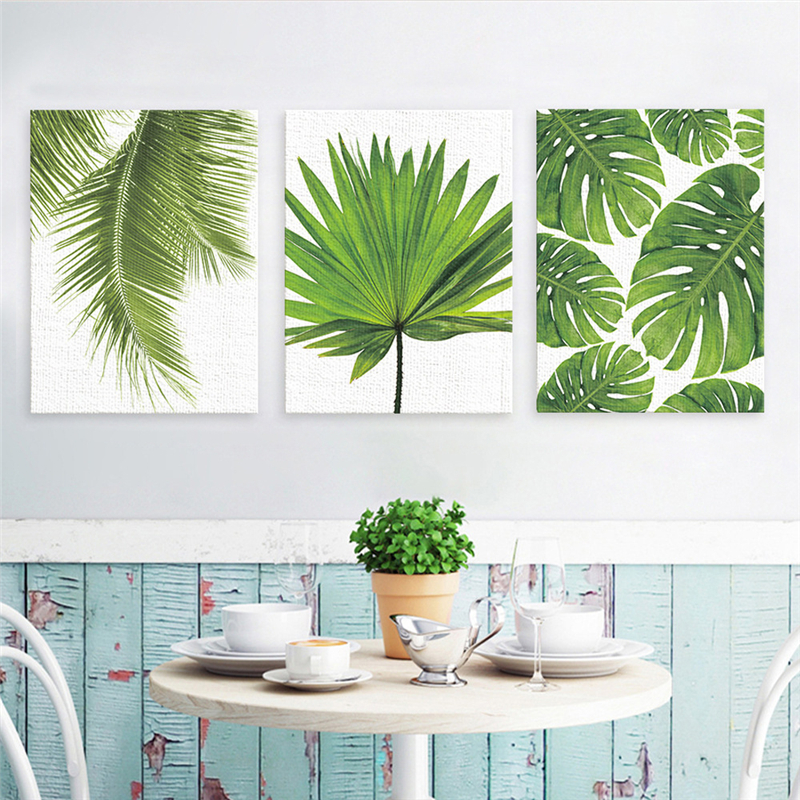Tropical Banana Leaf Canvas Painting Green Plants Nordic
