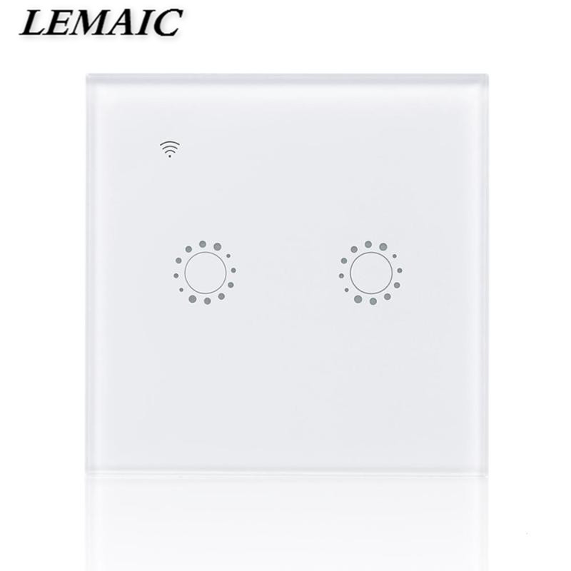 LEMAIC WiFi Smart Switch 2 Gang Light Wall Switch APP Remote Control Work with Amazon Alexa Google Home Schedules EU Plug lemaic wifi smart switch 2 gang light wall switch app remote control work with amazon google alexa timing function touch screen