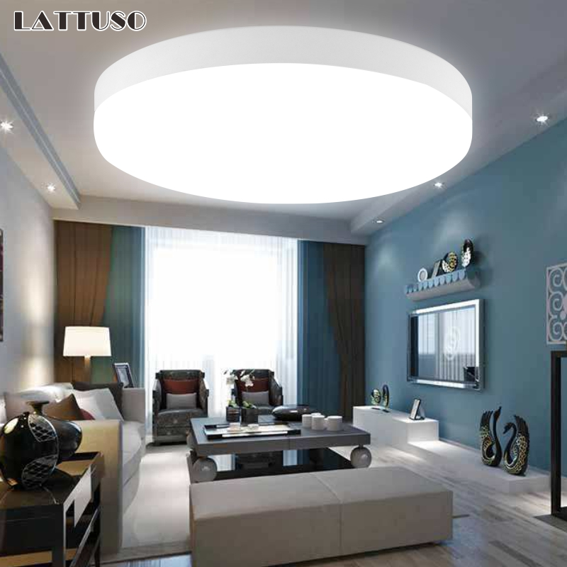 LATTUSO LED Ceiling Lamp AC 110V 220V PIR Motion Sensor Lamp Surface Mounted <font><b>Auto</b></font> Smart Sounds Control 8w 18w Round Panel Light image