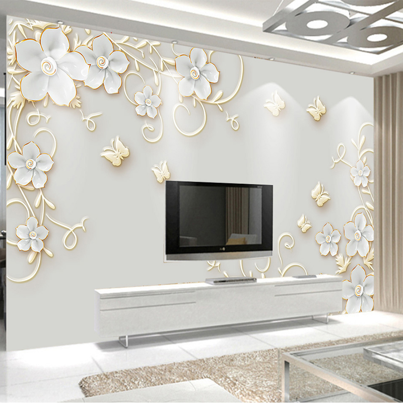 Custom Murals Wallpaper 3D Embossed Butterfly European Flowers Pattern Photo Wall Cloth Living Room TV Sofa Backdrop Wall Papers