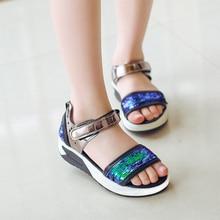 ФОТО 2018 summer girls pu leather glitter sandals, kids sports platform shoes, 2 colors, size 27-37