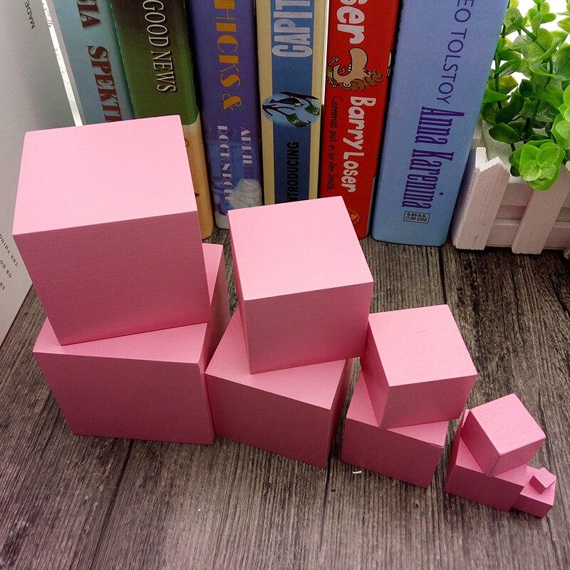 rosa torre de madeira montessori brinquedo educacional 04