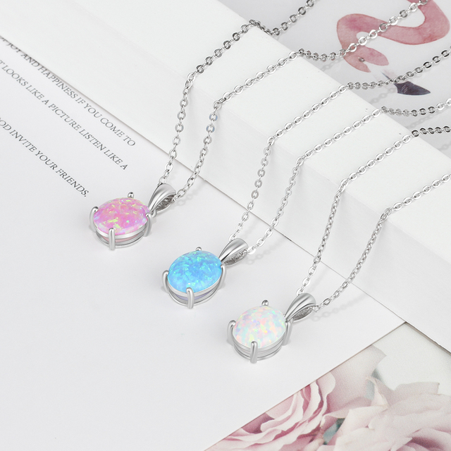 Women's Sterling Silver Pendant Necklaces With Opal Gems