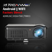 Black Home Party Backyard LED Movie Projector LED LCD Built-in Android WIFI Function HDMI VGA USB TV Home Theater