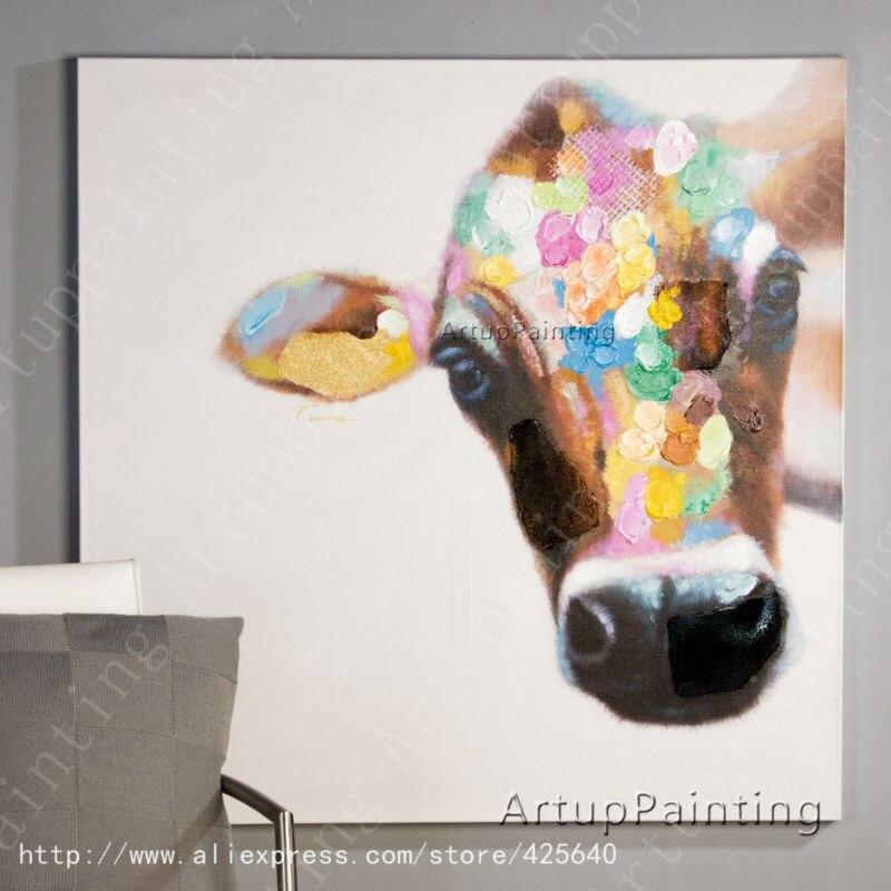Kráva Olejomalba na plátně Nástěnné obrazy Obrazy pro obývací pokoj Zeď Umění Plátno plátno nůž moderní abstraktní ručně malované