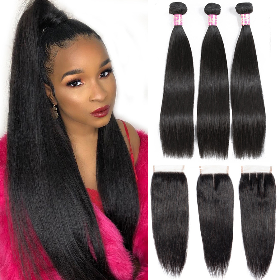 Queen Love Straight 30 Inch Hair Bundles With Closure Human Remy Hair Extension Brazilian Hair Weave
