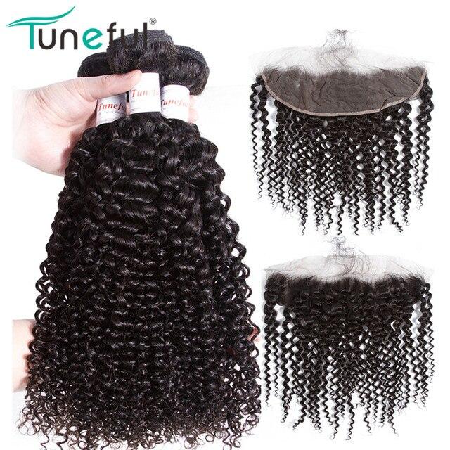 Paquetes de pelo rizado con cierre Frontal Tuneful 100% cabello humano Remy malayo Pre desplumado cierre Frontal de encaje con paquetes
