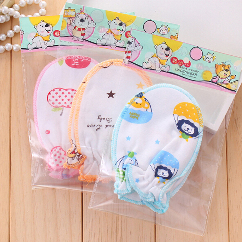 1 Pair Baby Gloves Anti Scratch Protection Soft Anti Grab Cartoon Newborn Care