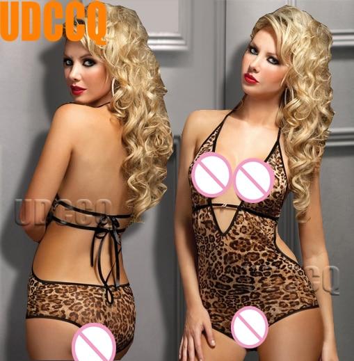 Leopard Print Fish Net Lace Lady Lingerie Sheer Babydoll Baby Doll Dress Underwear Catsuit Product Erotic Sleepwear Costumes