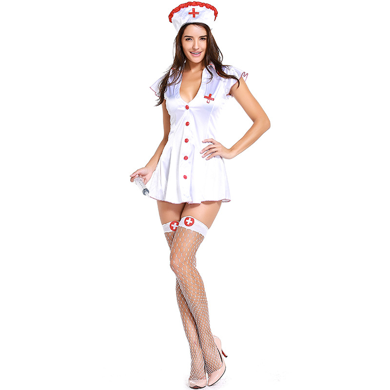 New Foreign Trade Export Game Uniforms Nurses Costume Nightclub Cosplay Suit Halloween Stage Cosplay Dress L1881732 plus size women in leather