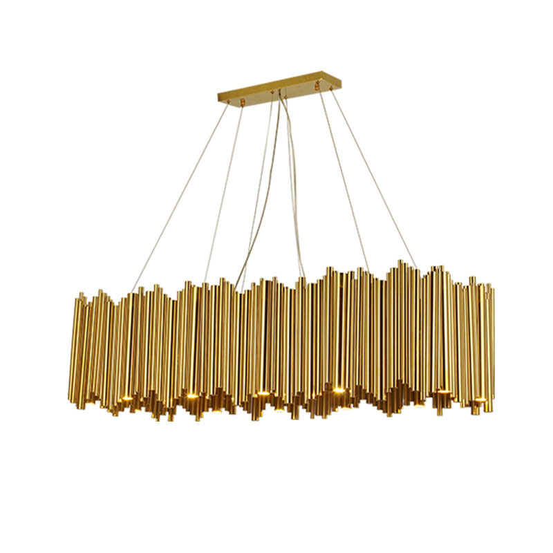 Modern Gold Metal Tube Organ Pendant Light Nordic creative model room bedroom restaurant personality art pendant lamp