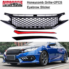MOTORFANSCLUB 2017 NEW Front Grille For 2016 Honda Civic JDM RS Turbo Black Honeycomb GT Style