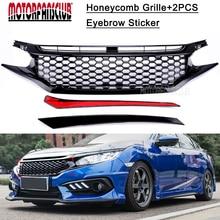 Auto Auto Kühlergrill Einsatz Rahmen Racing Grill Für Honda Civic 2016 2017 JDM RS Turbo Black Honeycomb Grille GT stil
