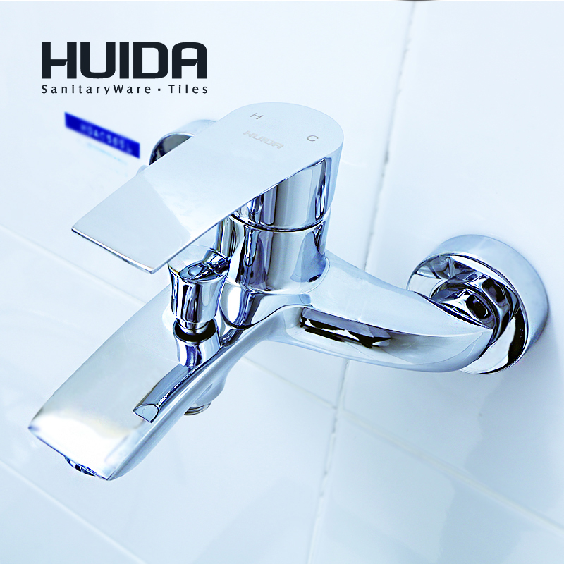 HUIDA bathroom shower faucet contemporary single handle bath tub faucet wall mounted chrome plated cold hot water mixerHDA3573Y