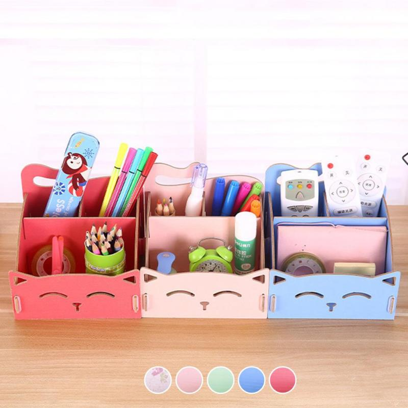 Cute Cat Wooden Storage Box For Jewelry Organizer For Cosmetics Office Pen Box Container Desktop Storage Assembly DIY Girl Gift2