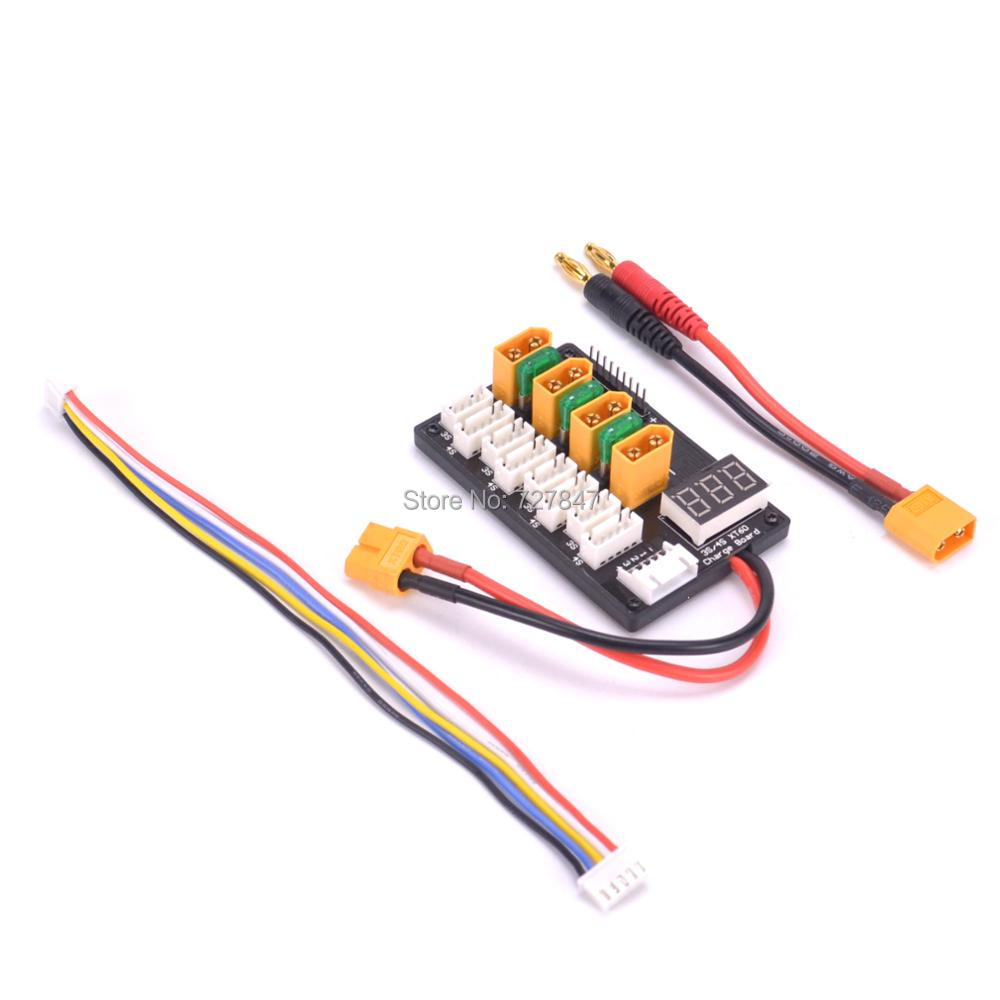 NEW 4CH 3s 4s Lipo Battery Parallel Charging Board XT60 Banana Plug For ISDT D2 Q6 SC-608 SC-620 Imax B6 Charger RC Models Parts