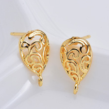 6PCS  13*14MM 24K Gold Color Brass with Zircon Star Stud Earrings Pins High Quality Diy Jewelry Findings Accessories