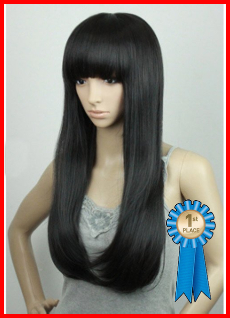 New Fashion,26 inch 204g #1B Natural black Indian Blended Remy Hair Natural wigs ,free shipping