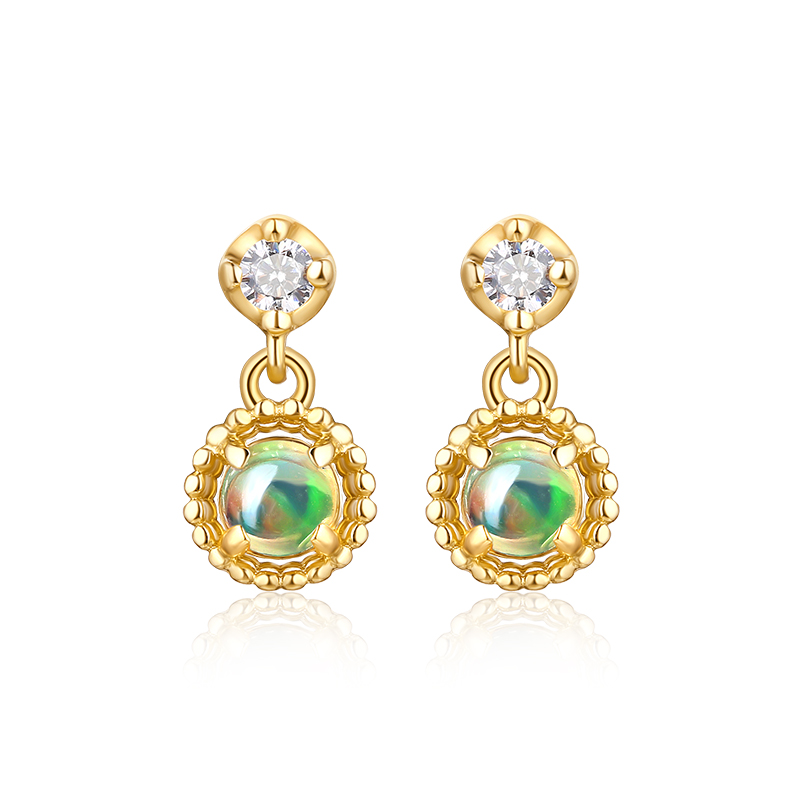 JXXGS Jewelry 14K Gold Opal Luxury Earrings Gold Color Drop Earrings For Women