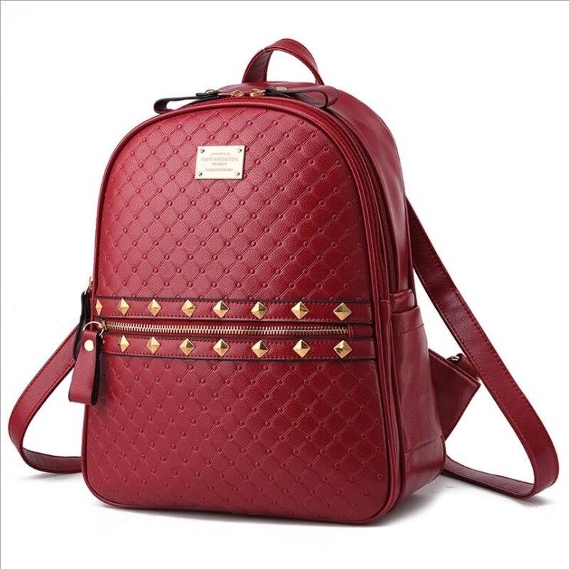 2a70f6eb4 Women Backpack Rivet Diamond Lattice Leather Solid Travel Women School Bags  For Teenage Girls Fashion Rugzak Bagpack Mochila