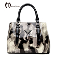 MORESHINE Brand Patent leather women Handbag Designs ladies crossbody bag Female Printing fur Top Handle Tote bolsas de grife