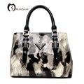 MORESHINE mulheres Bolsa de couro de Patente Da Marca Projeta senhoras crossbody bolsa Feminina Impressão de pele Top Handle Tote bolsas de grife