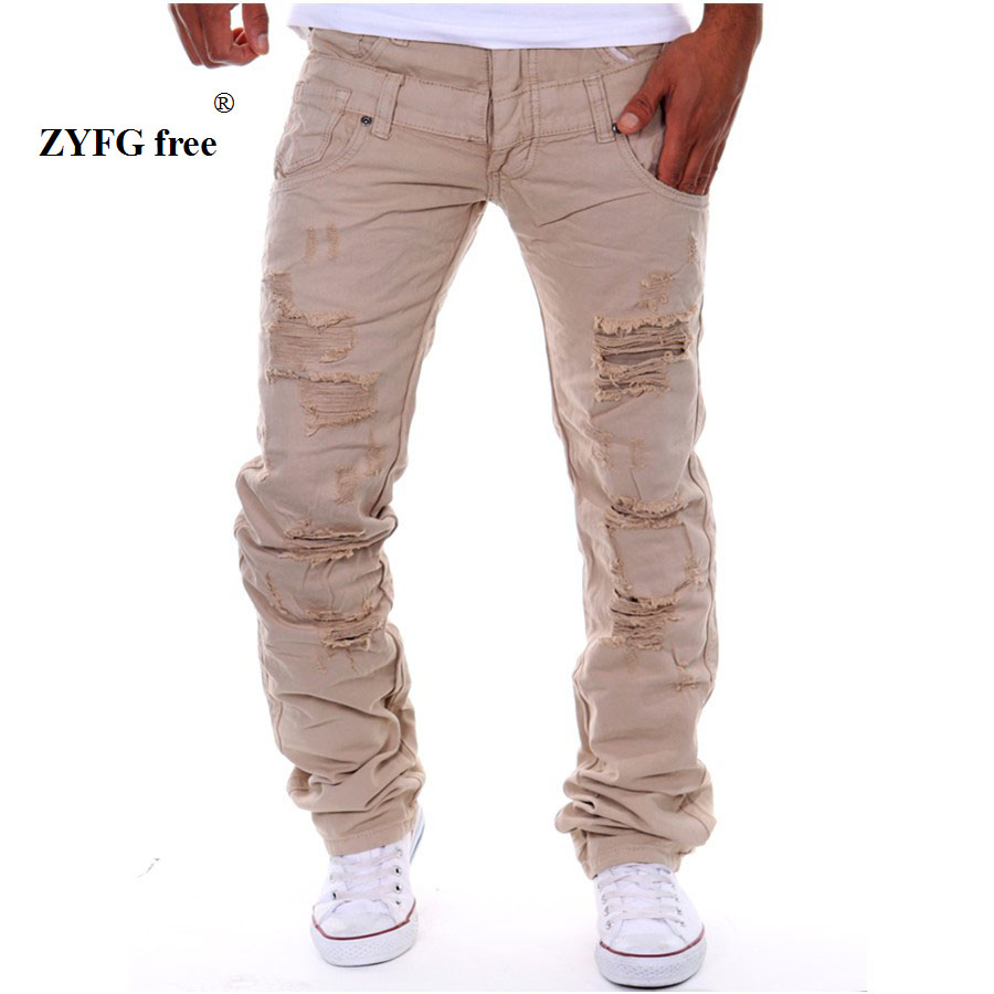 ФОТО 2017 Men's Popular casual Jeans spring autumn and winter personality with many holes style and 6 colors to select long jeans